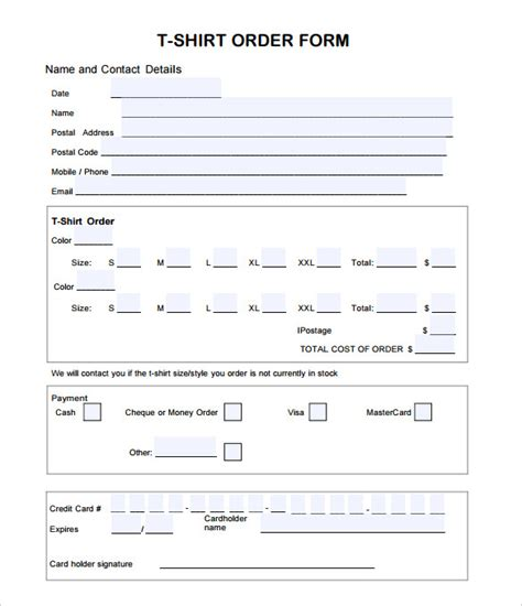 shirt order form template t shirt order form template 24 free word pdf format