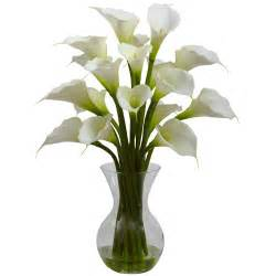 cream galla calla lily silk flower arrangement with vase artificial flowers silk flowers