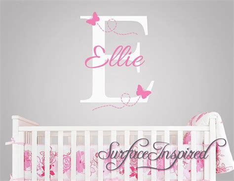 Baby Name Wall Decals For Nursery Nursery Wall Decals Ellie With Flying Butterfles Name Wall Decal Name Wall Decal For Baby