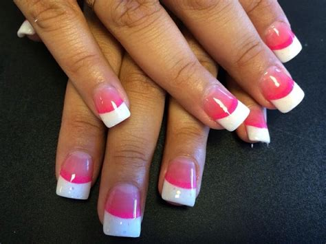 red nail beds pink ombre nail bed with white tips nails designing