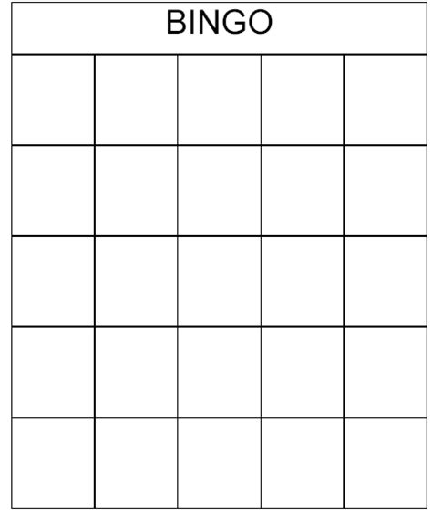 bingo template free printable bingo cards images