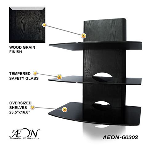 Tv Component Shelf Wall Mount by Component Shelves With Three Tier Wood Grain Glass Shelves