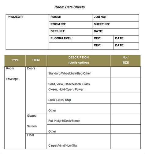 data template room data sheet template 3 free word pdf documents