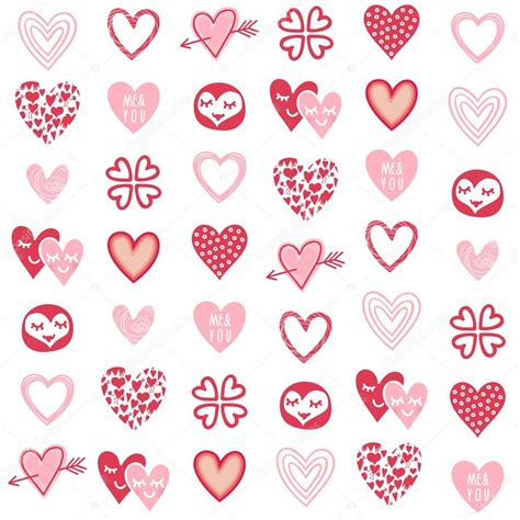 pattern design heart pink red different heart designs on white background