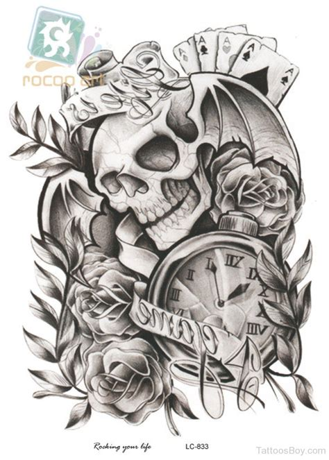 black and white skull tattoo designs clock tattoos designs pictures page 16