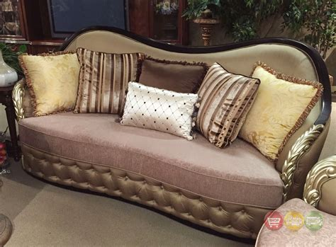 traditional curved sofa lafayette traditional curved beige sofa with black gold