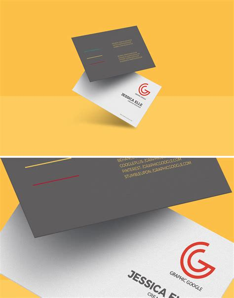business card size template psd free floating business card mockup template