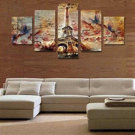 piece canvas art  butterfly tower home wall decor