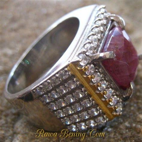 Cincin Batu Ruby Memo 8 burgundy silver 925 s ring size 8us untuk pria