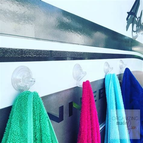 cup hook hack use suction cup hooks to hang towels on the side of the rv
