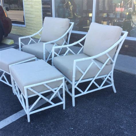 chippendale patio furniture chippendale pair faux bamboo metal patio lounge armchairs and ottomans for sale at 1stdibs