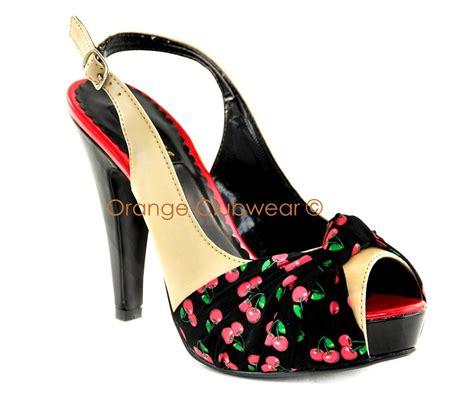 pinup womens cherry print slingbacks retro 50s style high