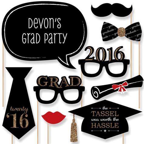 graduation photo booth props printable 2016 20 gold graduation photo booth props 2016 by bigdotofhappiness