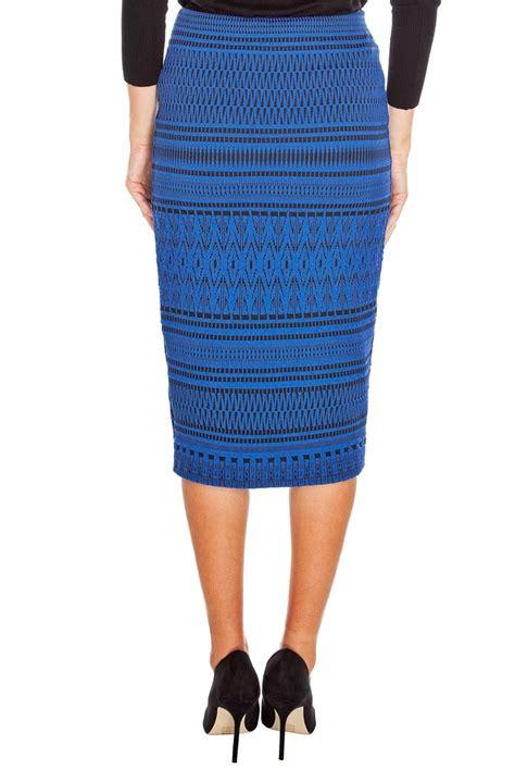 blue tribal print pencil skirt evening wear