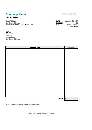 Template Blankinvoice Org Blank Bill Template