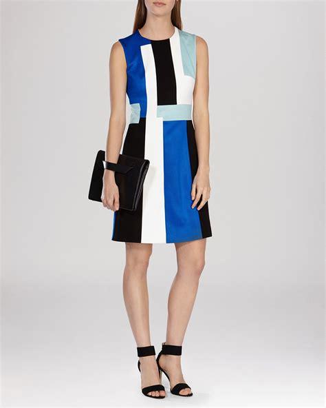s color block dresses lyst millen modernist color block dress in blue