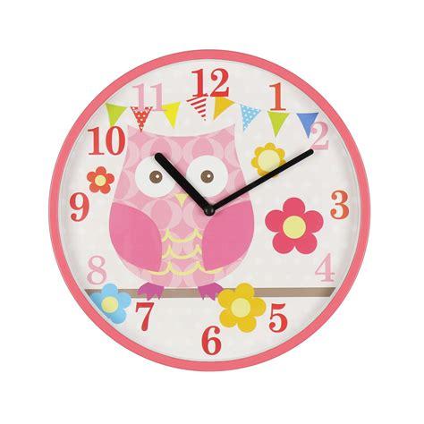 kiddiwinks pink childrens wall clock owl design