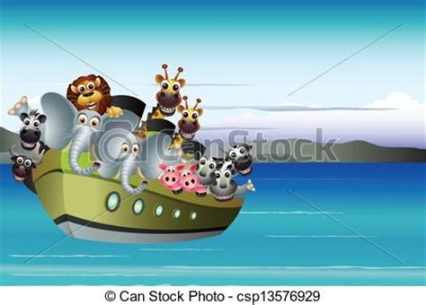 animal cartoon on boat vector illustration of animal cartoon on boat