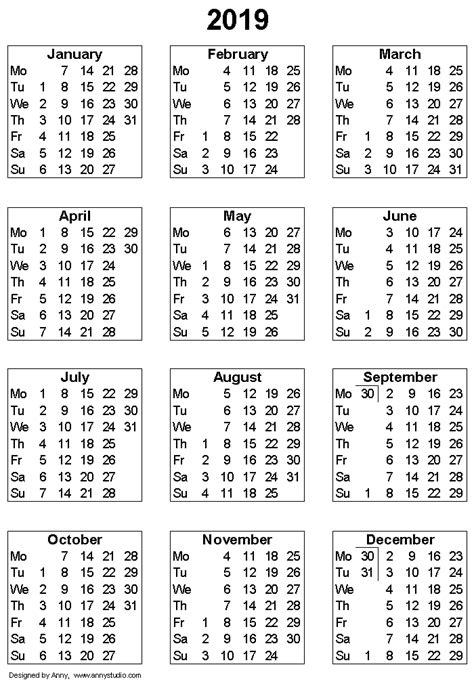 printable calendar for 2019 printable blank yearly calendar 2019 clipart library