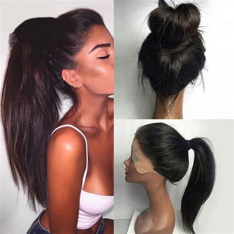 wholesale long ponytails straight lace front synthetic wig