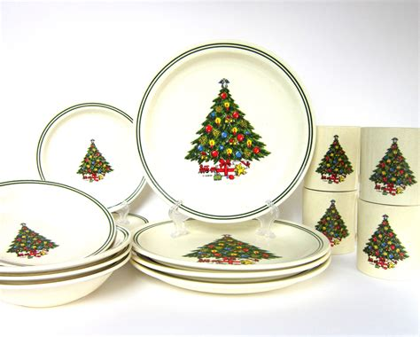 xmas sale vintage christmas tree dinnerware set by