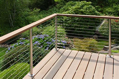 wire banister stainless steel cable deck railing with wood handrail