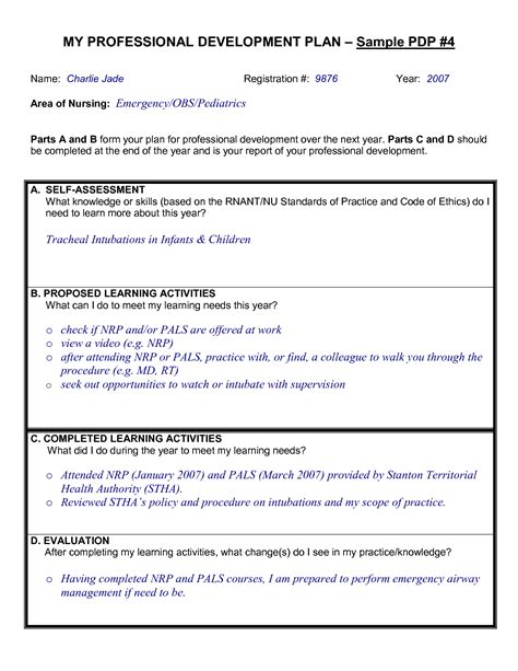 District Professional Development Plan Template by Professional Development Plan Www Pixshark Images