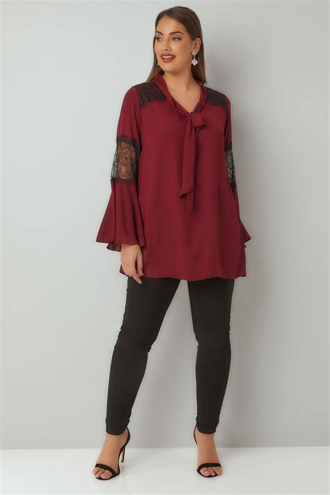 Lace Bow Sleeve Blouse burgundy lace blouse with flute sleeves bow tie