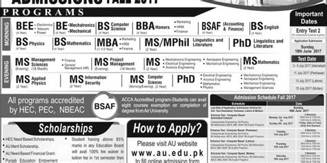 Of Mississippi Mba Admission Requirements by Air Islamabad Admission 2017 Bs Bba Ms Mba