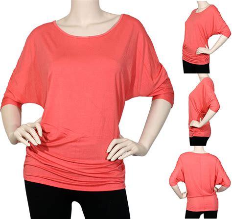 Kemeja Import 42576 Half Knit Sleeve Blouse iron puppy s plus dolman modal boatneck half sleeve top shirts fit ebay