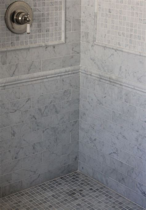 pattern tile shower carrara ming green marble with glass deco liners