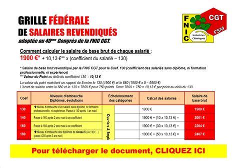 Convention Collective Industrie Chimique Grille Salaire by Nouvelle Grille F 233 D 233 Rale Des Salaires Fnic F 233 D 233 Ration