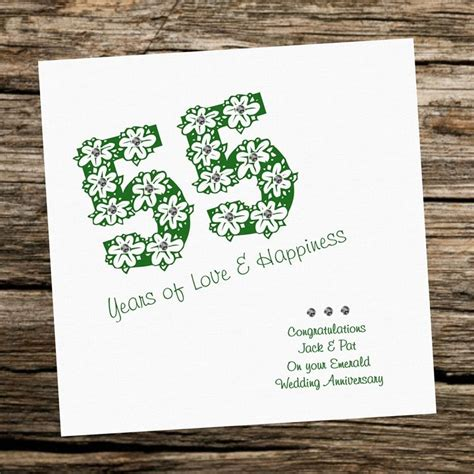 Emerald Wedding Anniversary Card Uk by Handmade Card Wedding Anniversary 55th Emerald