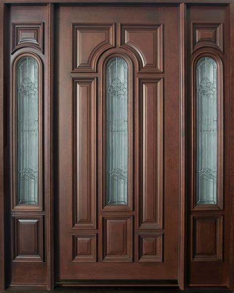 door front doors front door custom single with 2 sidelites solid wood with mahogany finish classic