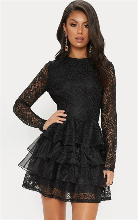 black lace tiered dress dresses prettylittlething