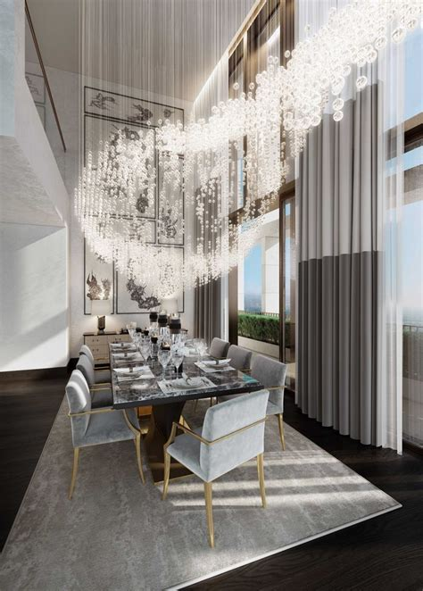 No Chandelier In Dining Room St Penthouse Large Chandelier With Crystals That Creates A Dining Room That Leaves