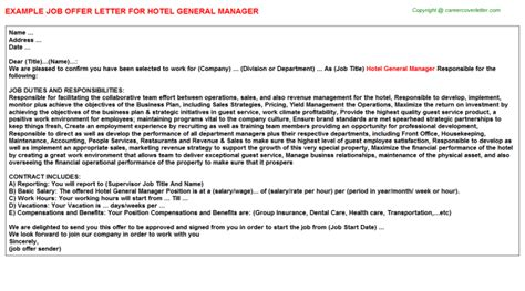 Service Letter For Hotel Manager General Manager Offer Letters