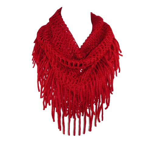 Fringe Scarf womens fringed knit infinity loop scarf by ctm