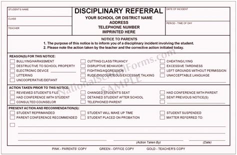 5 Student Discipline Form Template Coaua Templatesz234 Student Referral Form Template