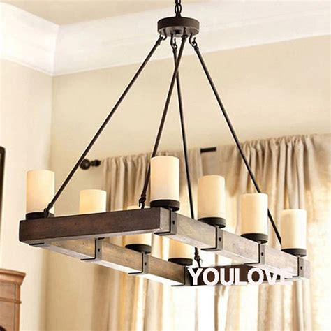 Dining Room Light Fixtures Wood American Country Vintage Pendant Lights Fixture Rectangle