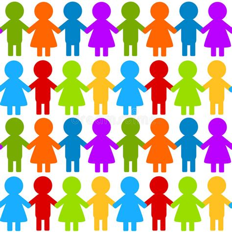 Seamless Colorful Children Holding Hands Stock
