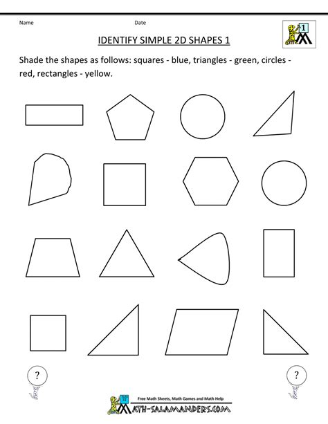 printable shapes for first grade first grade geometry
