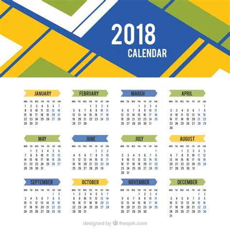 Descargar Calendario 2018 Calendario 2018 De Formas Abstractas Descargar Vectores