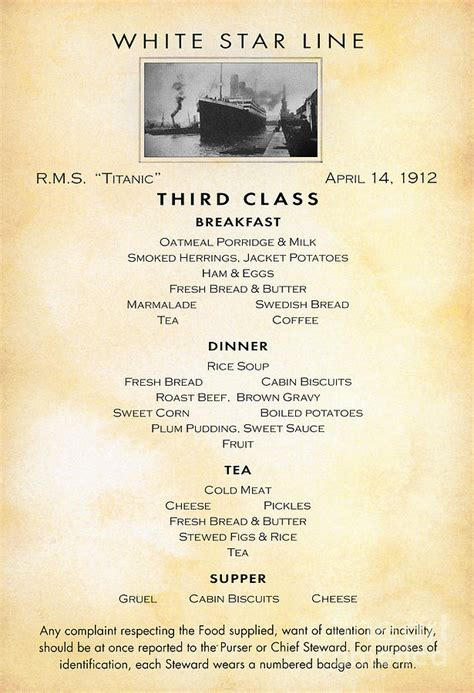 titanic first class menu titanic menu 1912 photograph by granger