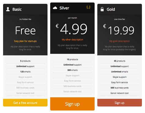 pricing table responsive pricing table plugins