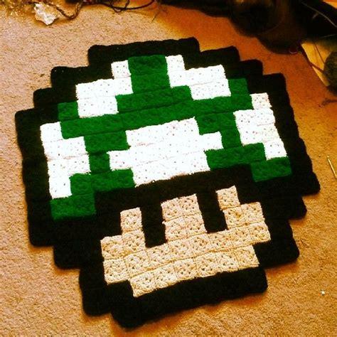mario bros rug 1 up pixel crochet mario rug by grannysfanny crocheting