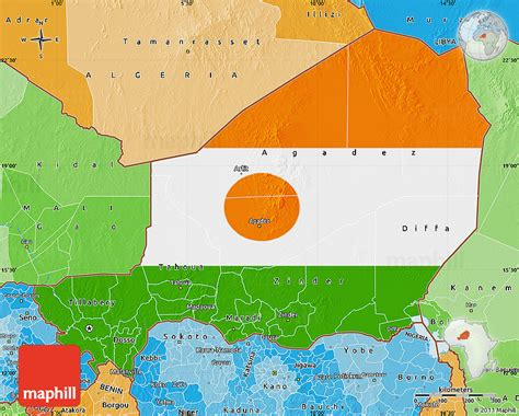 political map of niger flag map of niger political shades outside