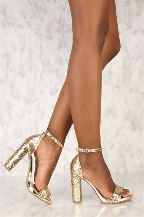 Wedges Gold Gliter Wedges Murah gold open toe single sole chunky high heels glitter