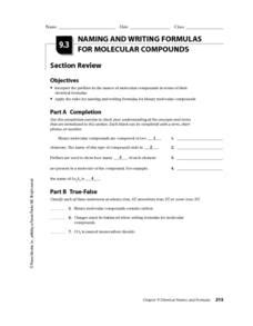 naming and writing formulas for molecular compounds worksheet for 10th 12th grade lesson planet