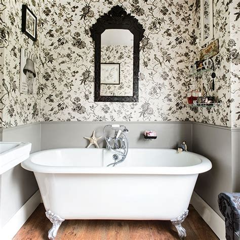 black and white wallpaper for bathrooms black and white bathroom with roll top bath bathroom decorating housetohome co uk